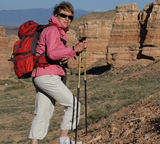 Photograph of a woman hiking